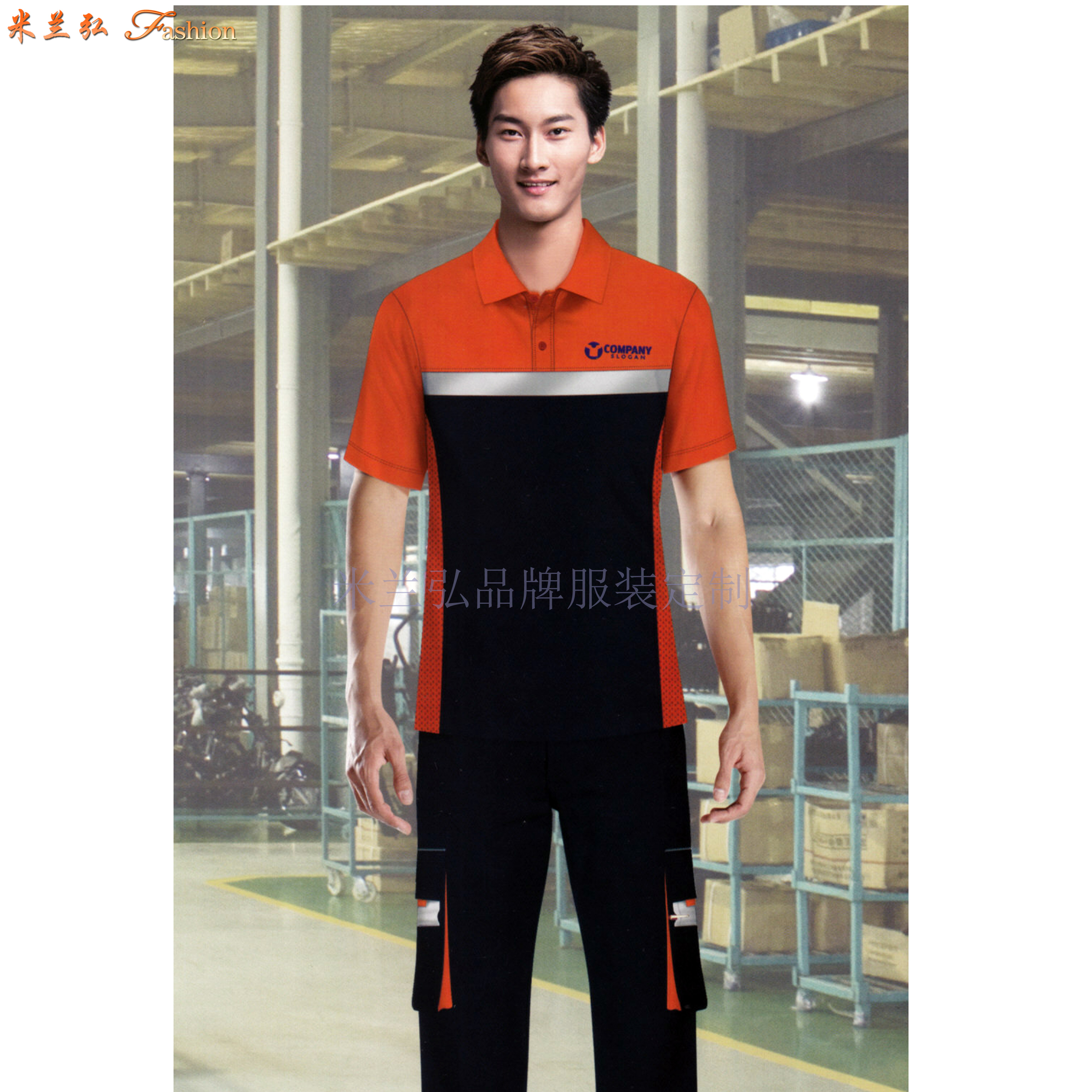 「夏天工程服定做」「短袖工程服訂做」滌棉防靜電-米蘭弘服裝-3
