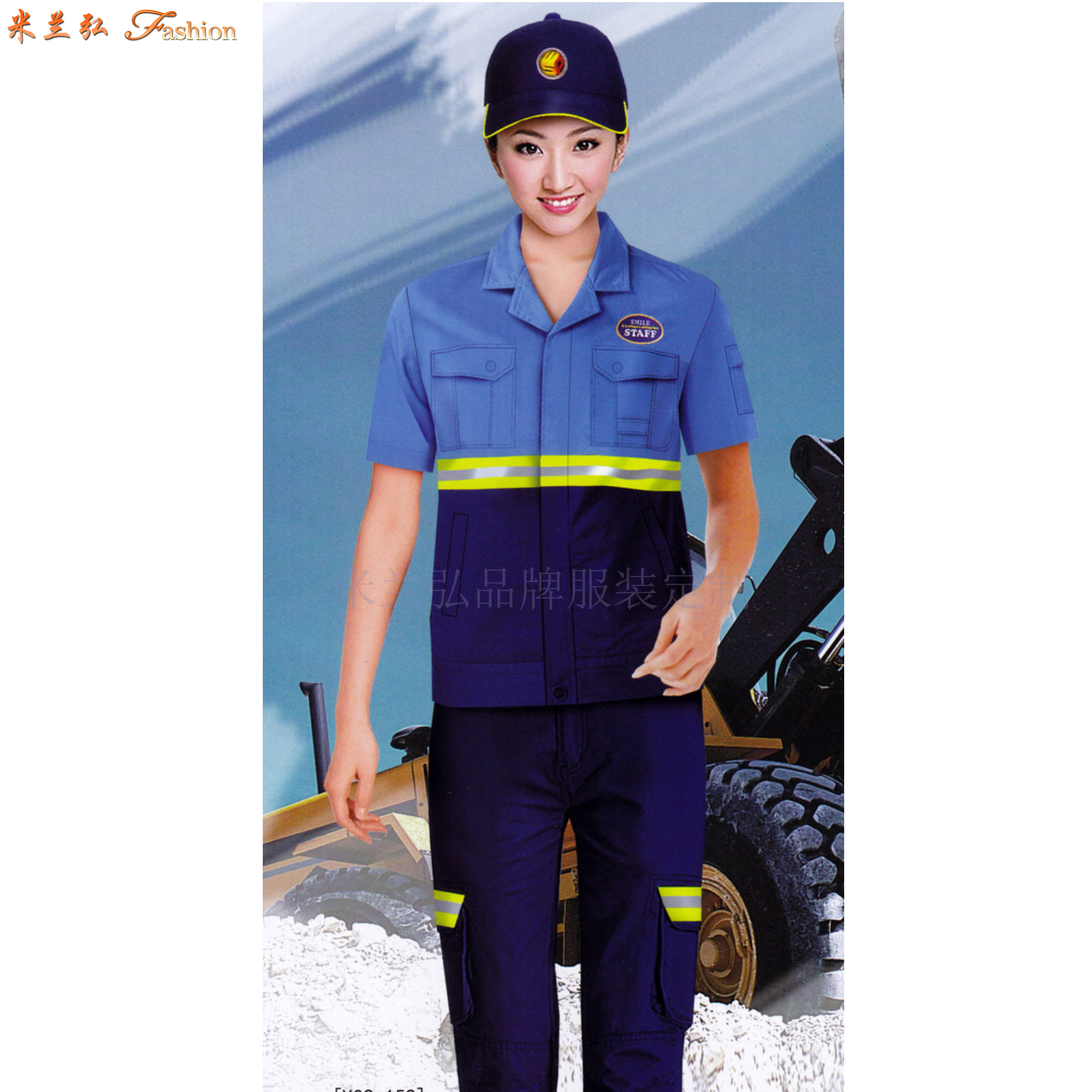 「夏天工程服定做」「短袖工程服訂做」滌棉防靜電-米蘭弘服裝-5