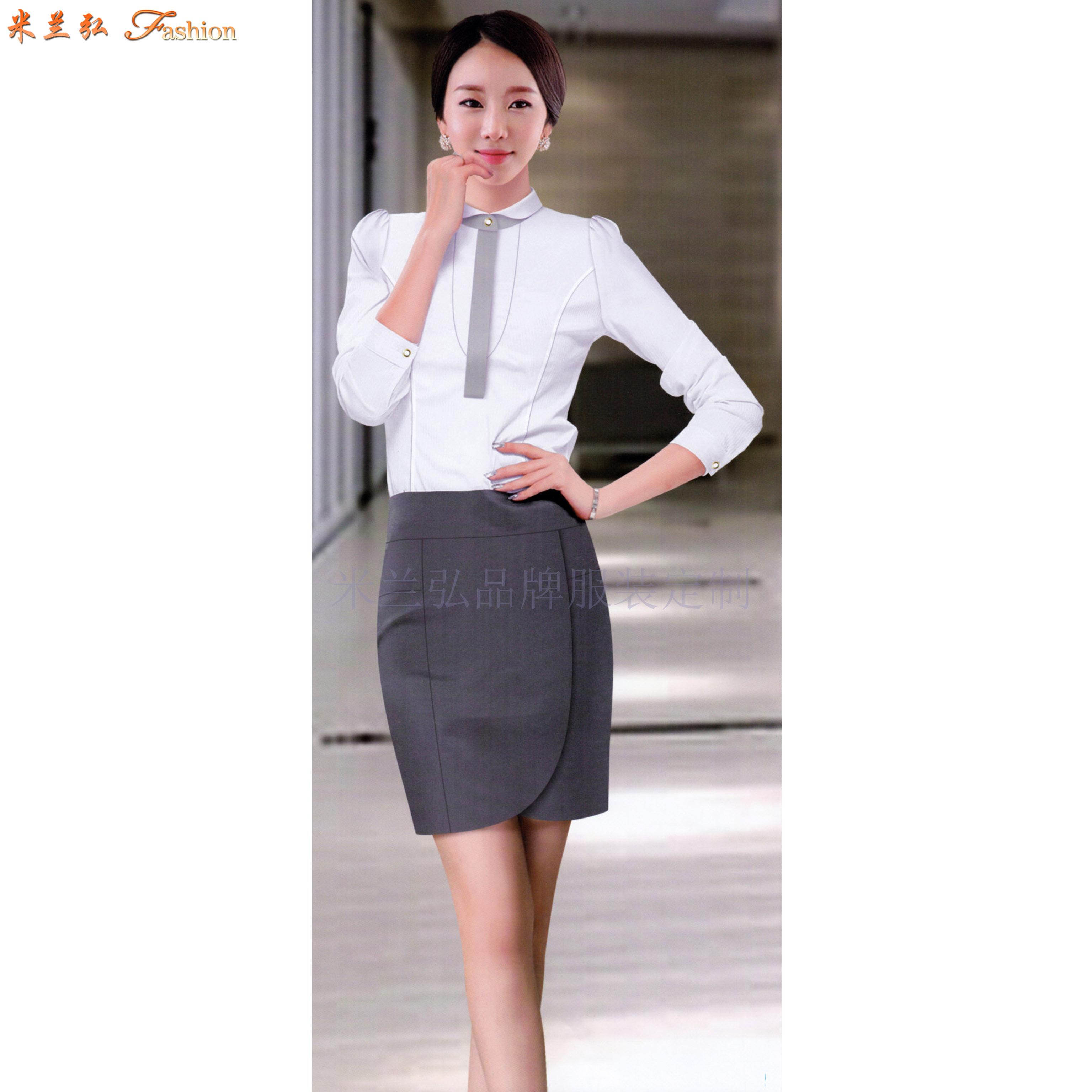 女士職業裝白襯衫-定做女式長袖白色襯衫-米蘭弘服裝-1