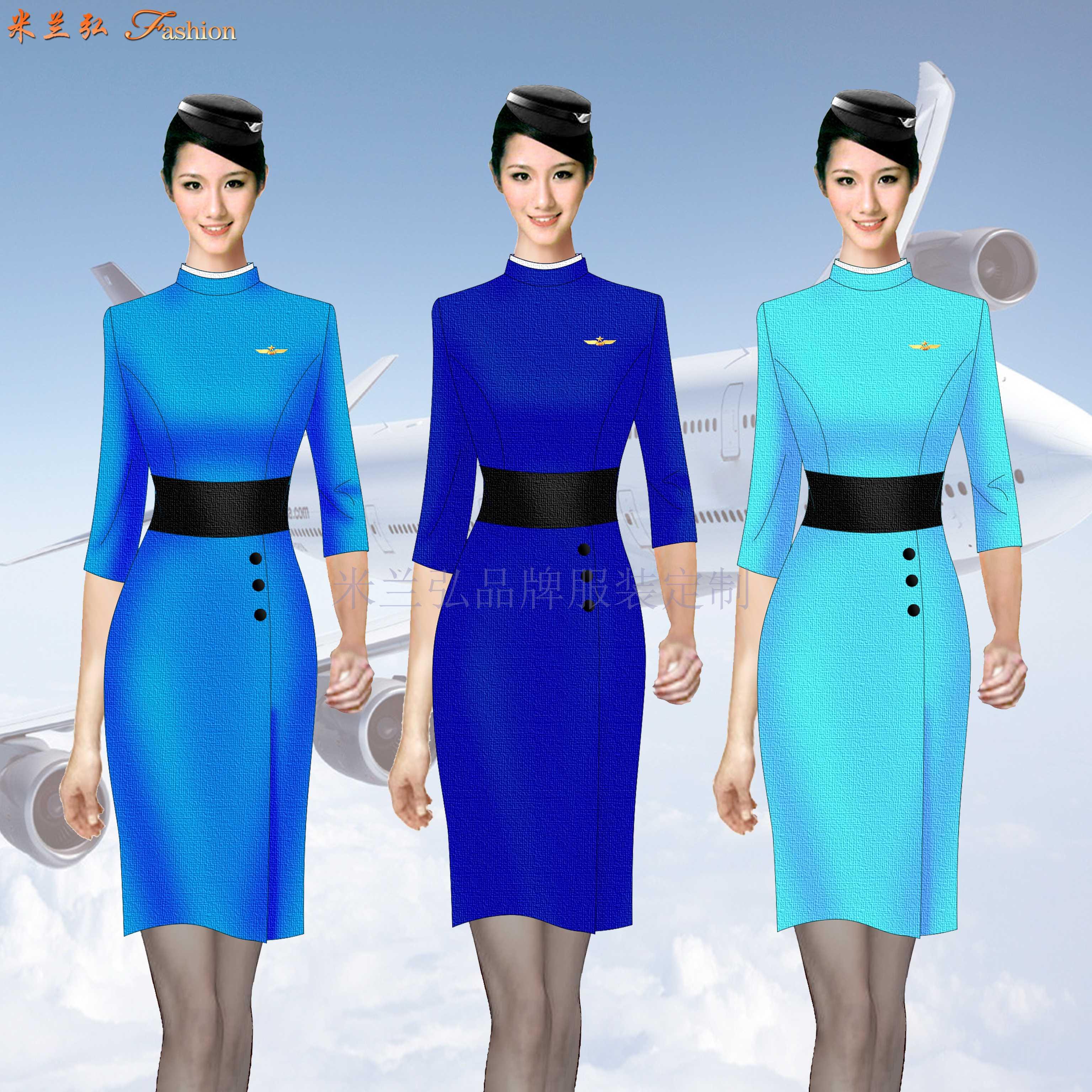 空姐服裙裝訂制定做空姐服連衣裙套裝價格-米蘭弘廠家-2