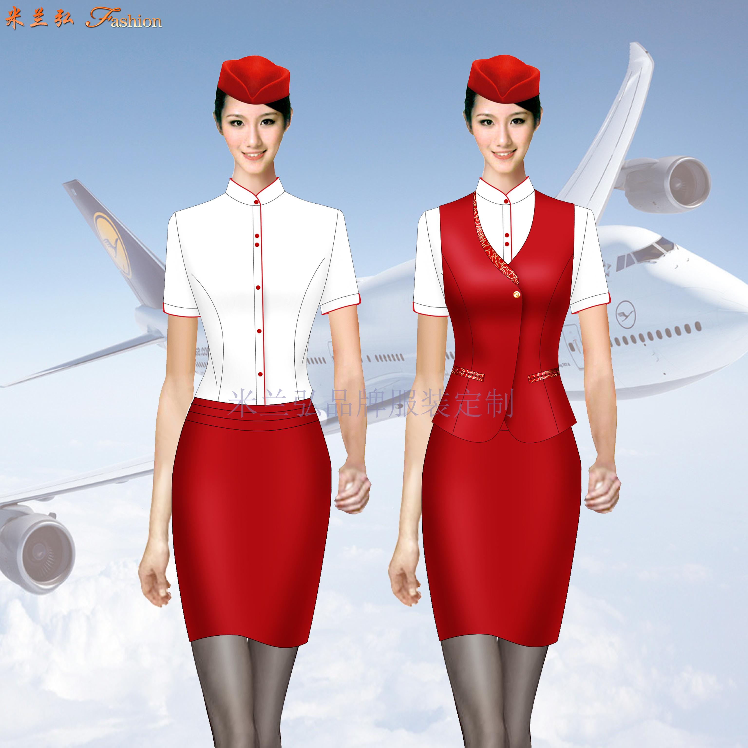 空姐服裝短袖夏裝圖片_空姐服裝夏季套裝定做-米蘭弘廠家-2