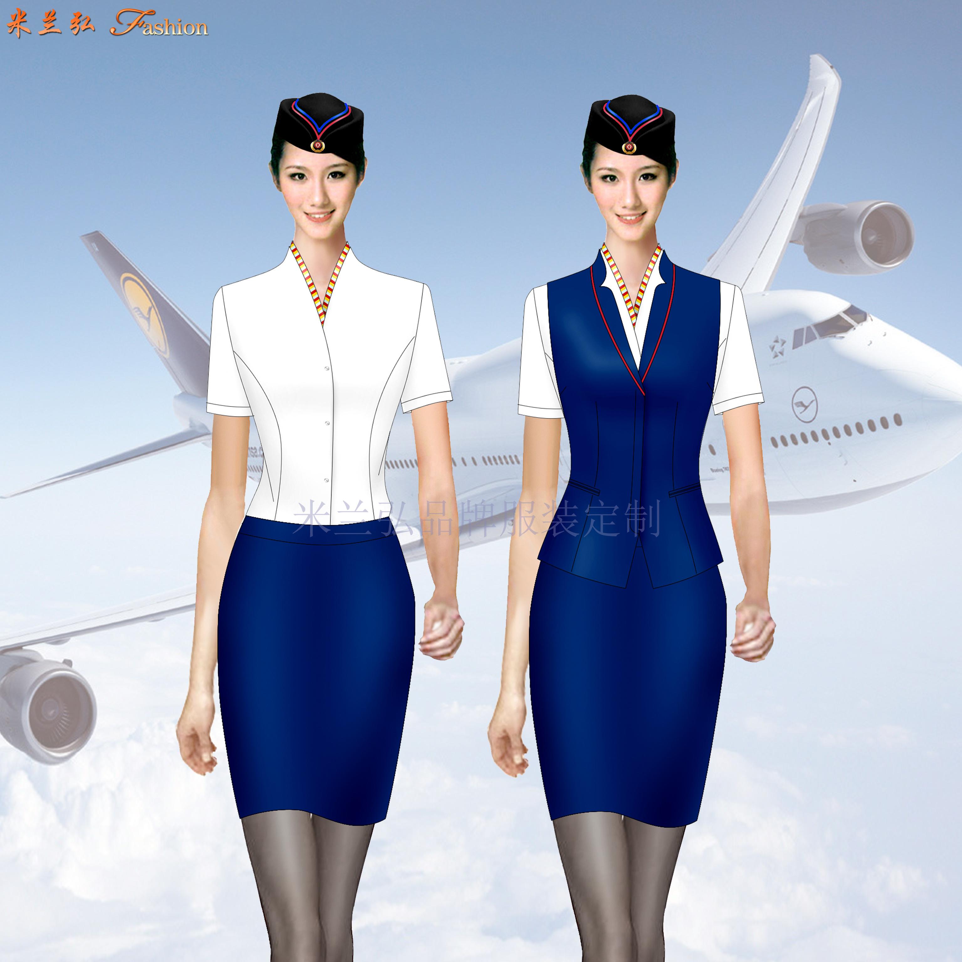 空姐服裝短袖夏裝圖片_空姐服裝夏季套裝定做-米蘭弘廠家-3