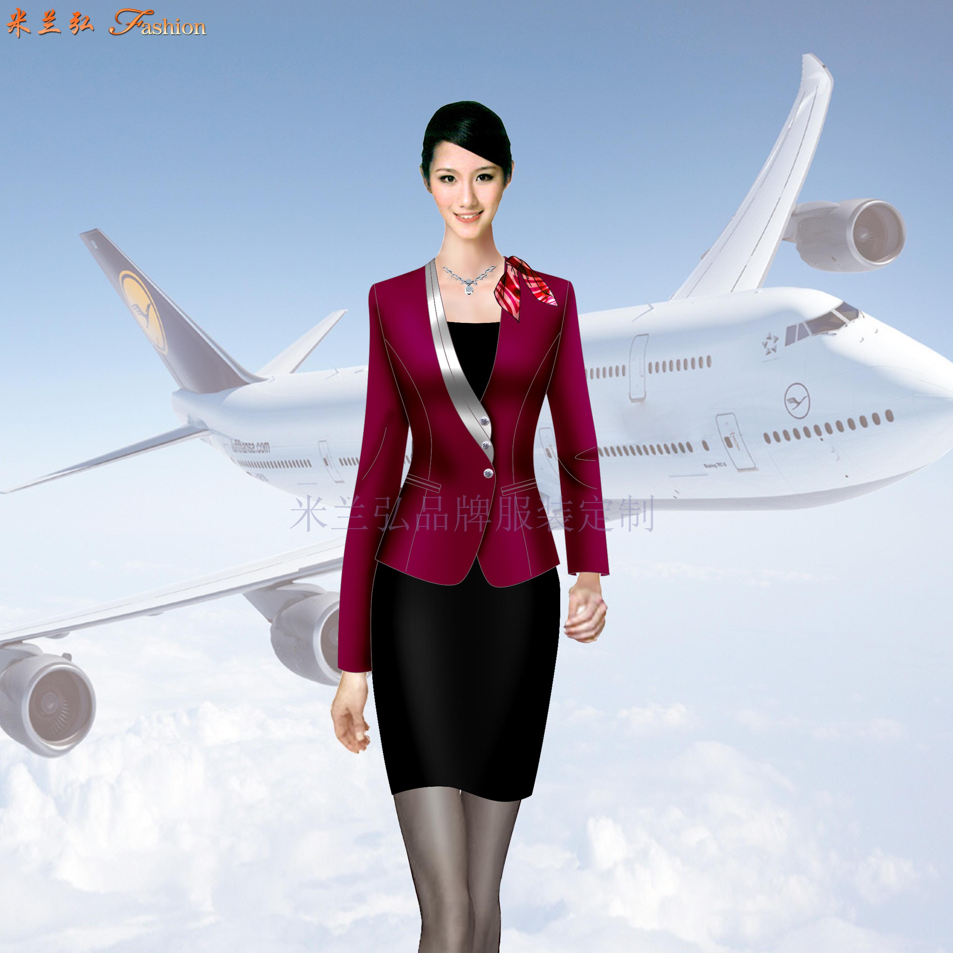 空姐職業裝定做圖片_空乘時裝套裝訂制-米蘭弘服裝廠家-3