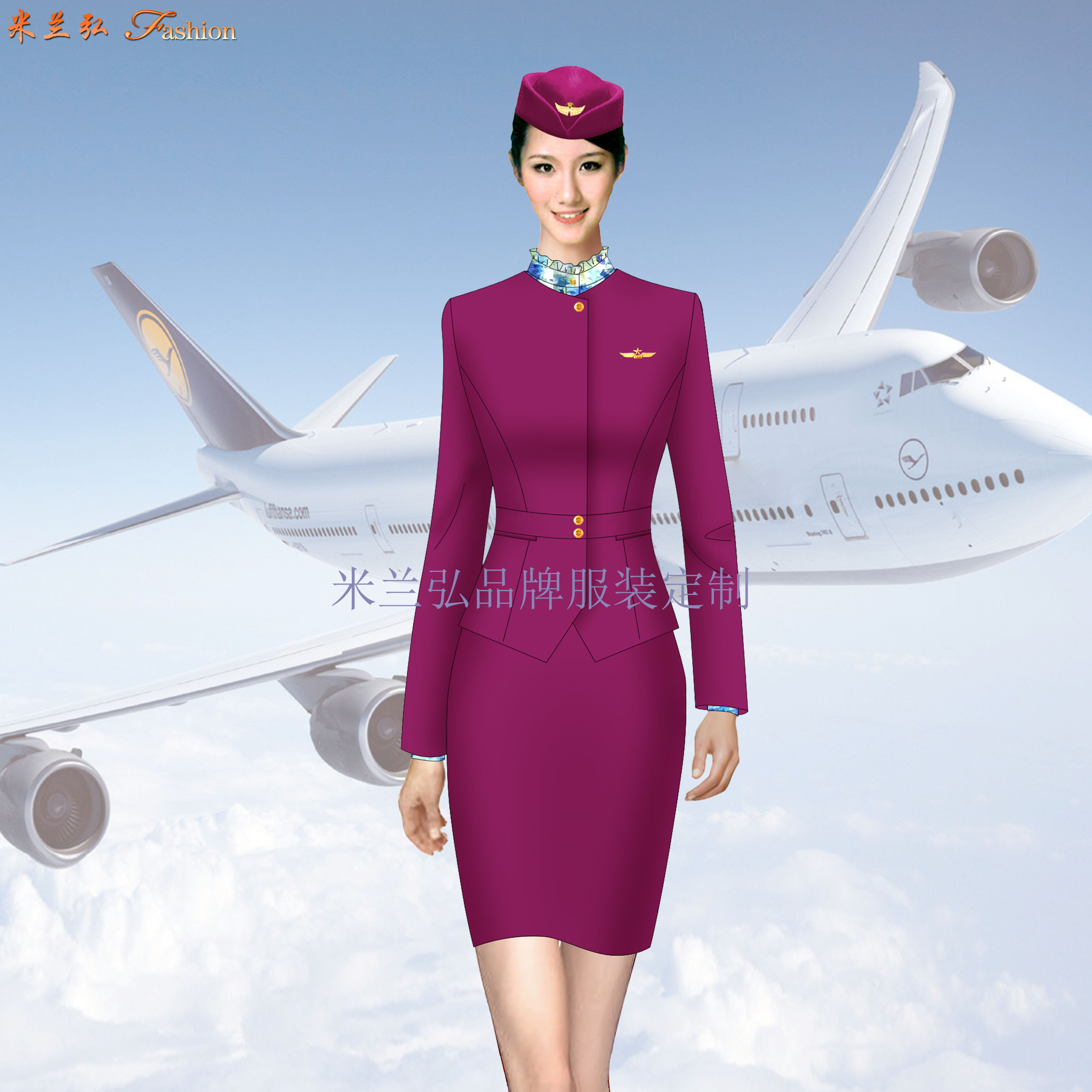 空姐職業裝定做圖片_空乘時裝套裝訂制-米蘭弘服裝廠家-4