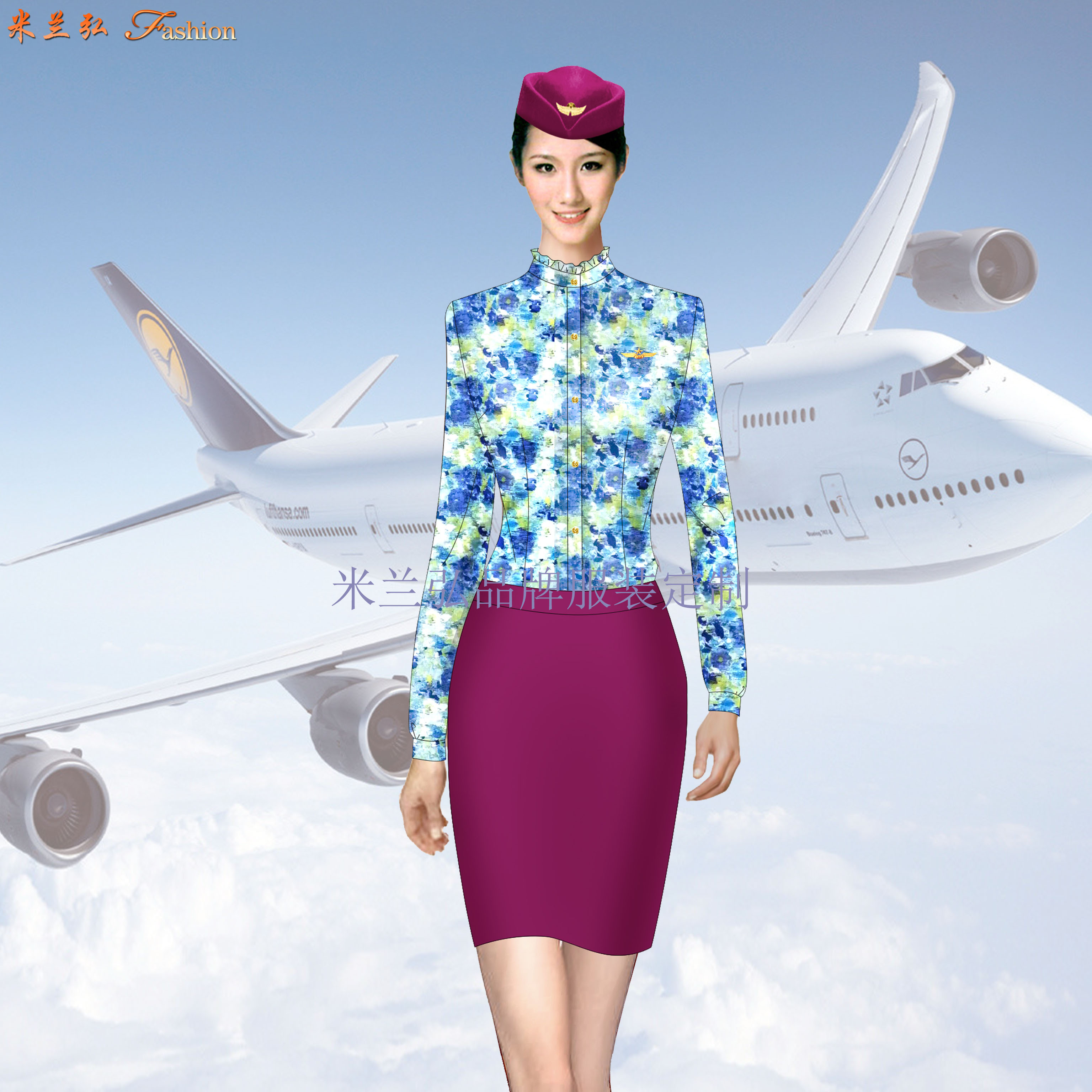 空姐職業裝定做圖片_空乘時裝套裝訂制-米蘭弘服裝廠家-5