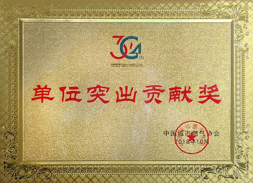 中国城市燃气协会单位突出贡献奖