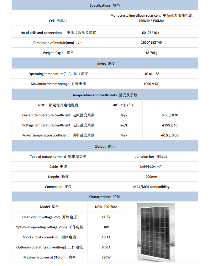 290W30VSolarpanelspecifications