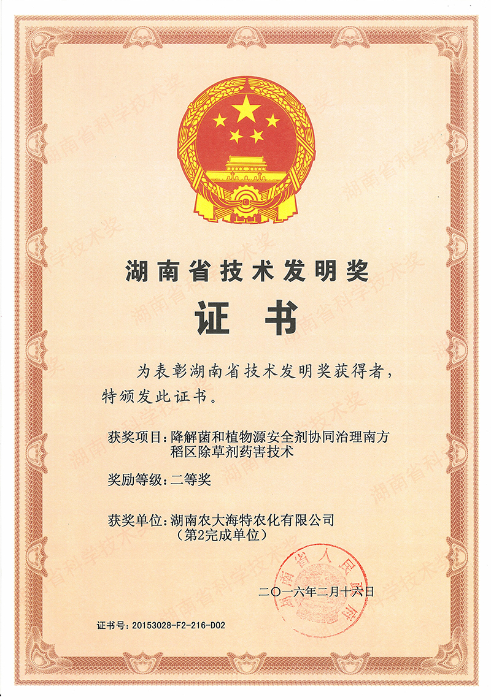 湖南省技术发明奖