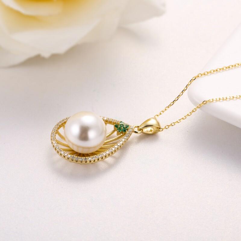 水滳形钻石珍珠吊坠-IMG_2733
