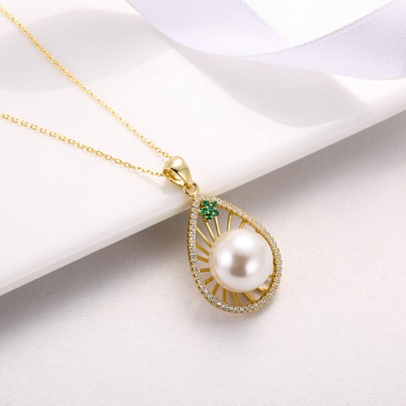 水滳形钻石珍珠吊坠-IMG_2734