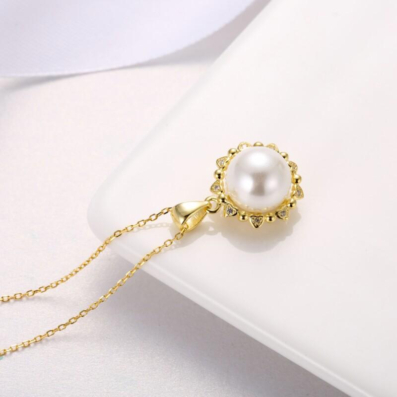 心形围珍珠吊坠,耳钉,介子-IMG_2840