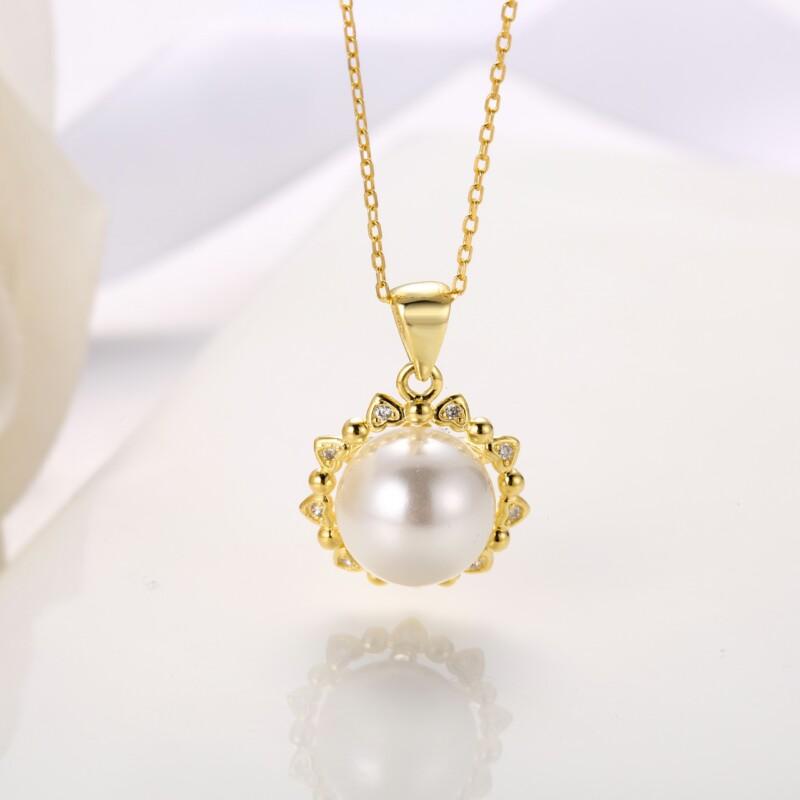 心形围珍珠吊坠,耳钉,介子-IMG_2841