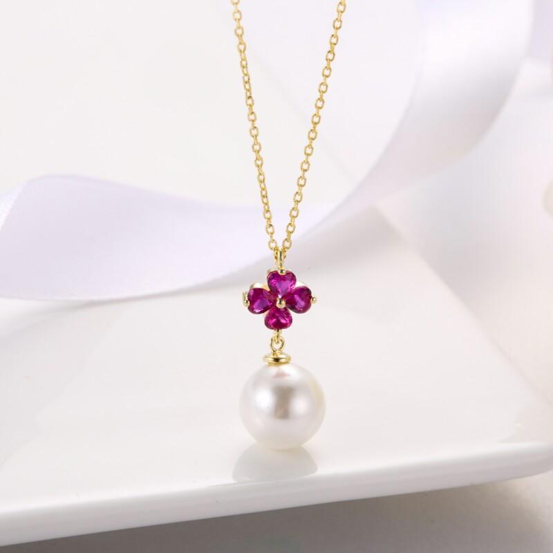 心形钻珍珠吊坠,耳钉-IMG_2836