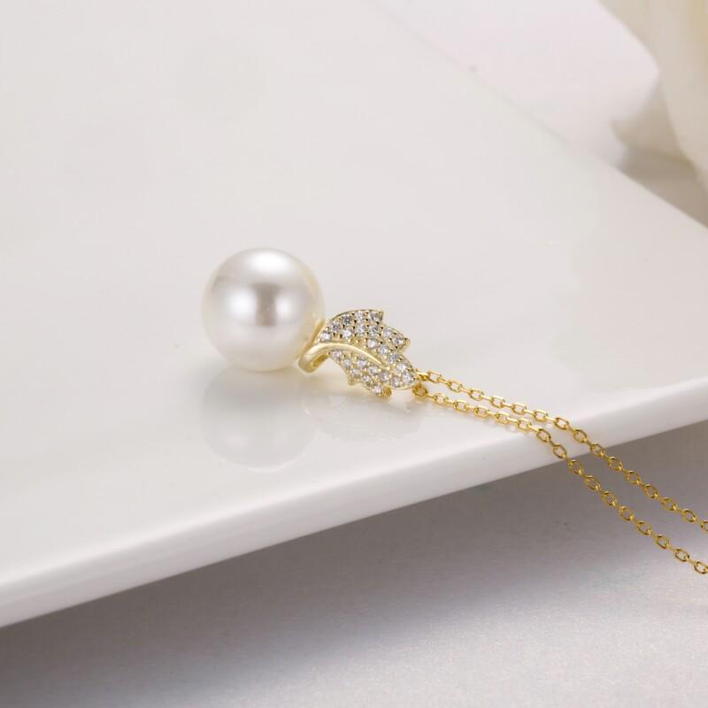 叶子钻石珍珠吊坠,耳钉-IMG_2869