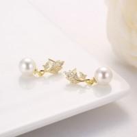 叶子钻石珍珠吊坠,耳钉-IMG_2873