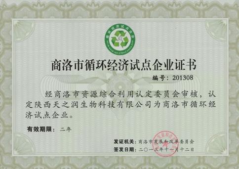 商洛市循環經濟試點企業證書
