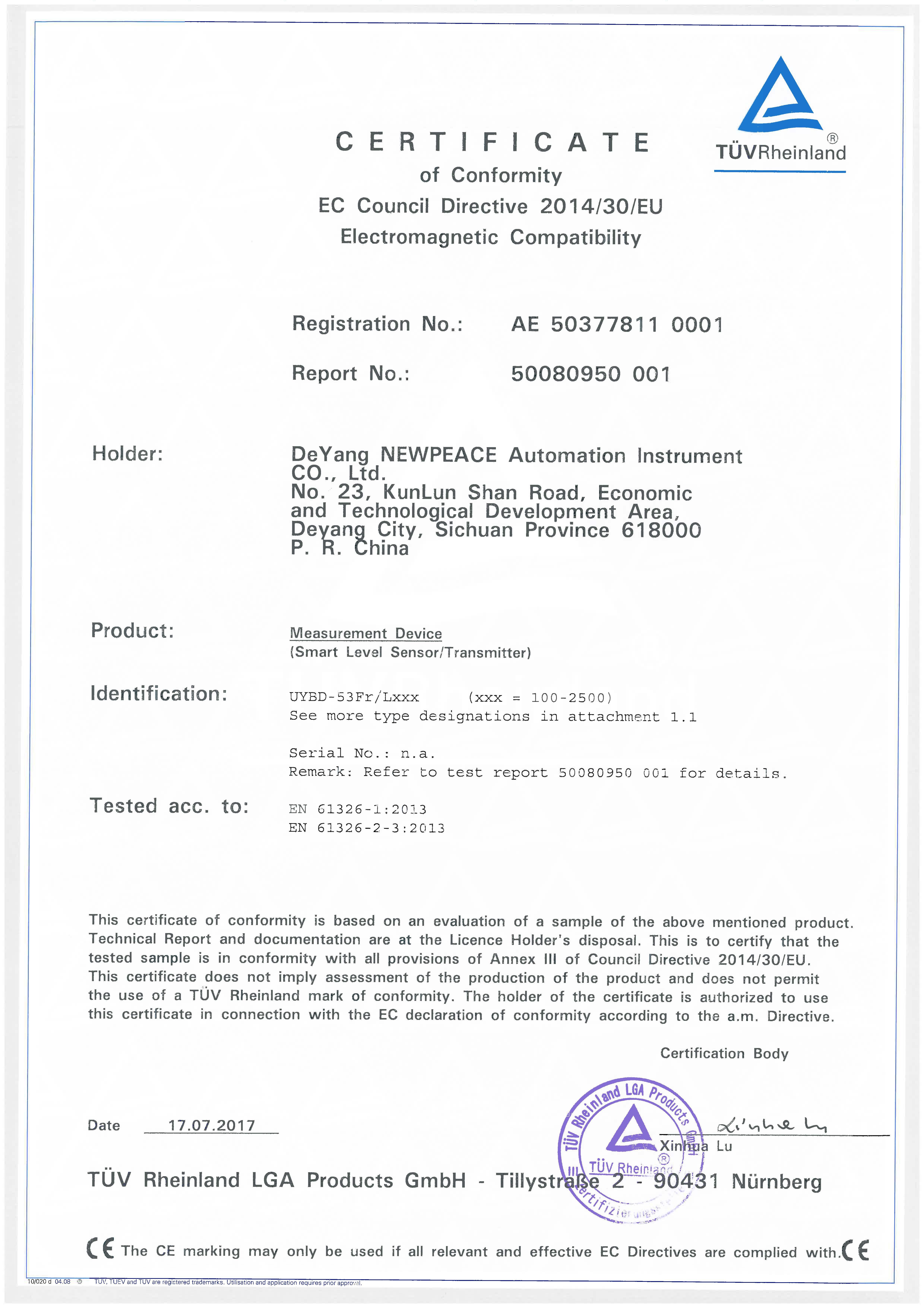 日本avapp下载液位计CE认证证书_页面_1