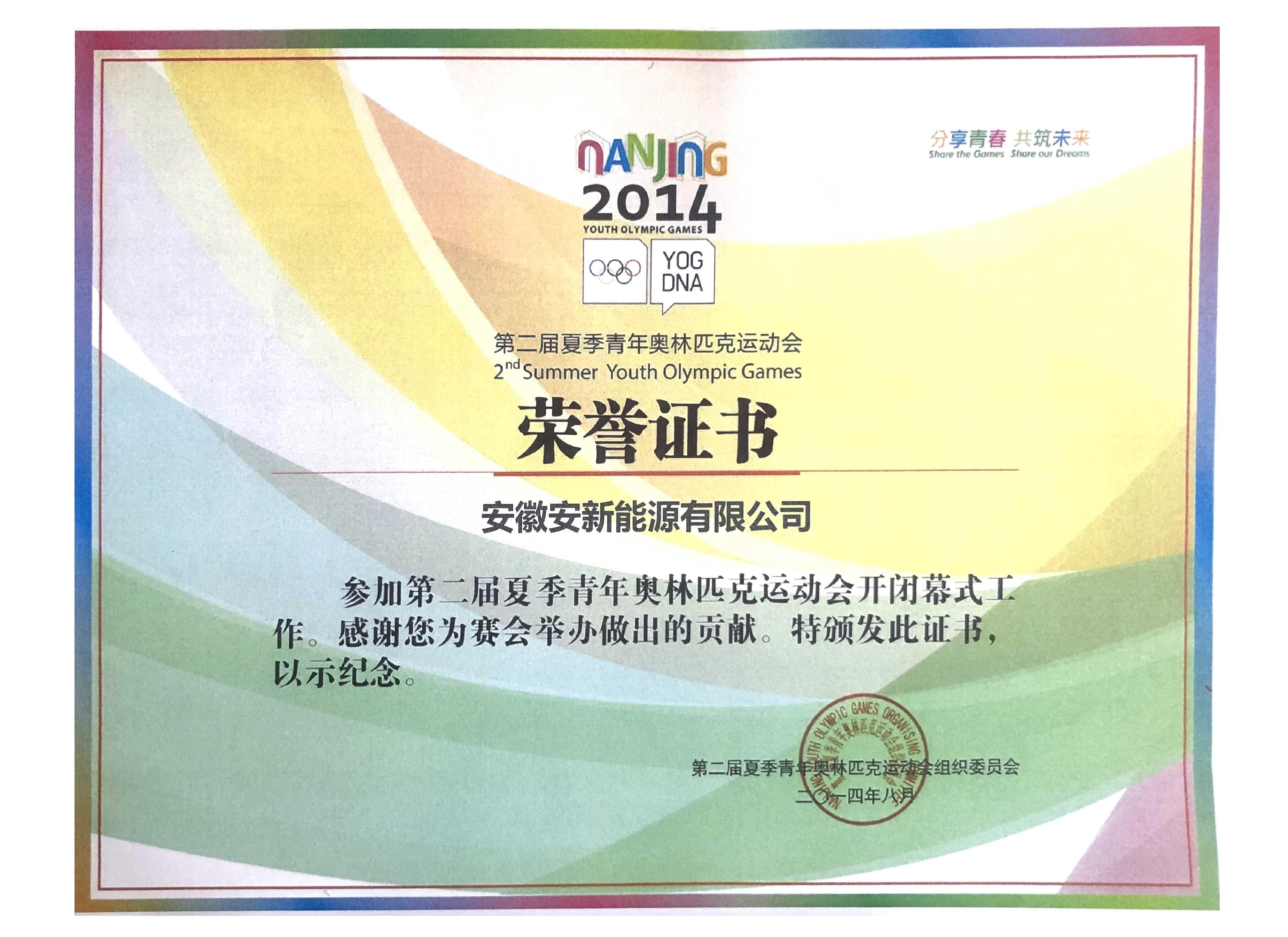 第二届夏季青年运动会荣誉证书公司证书