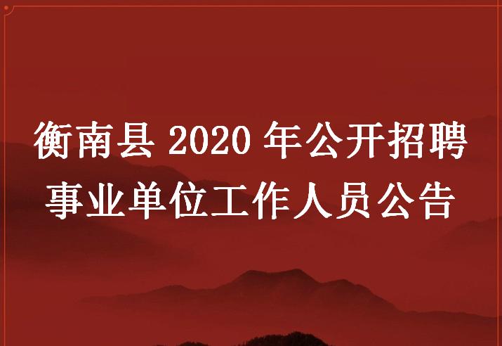衡南县2020年公开招聘事业单位工作人员公告