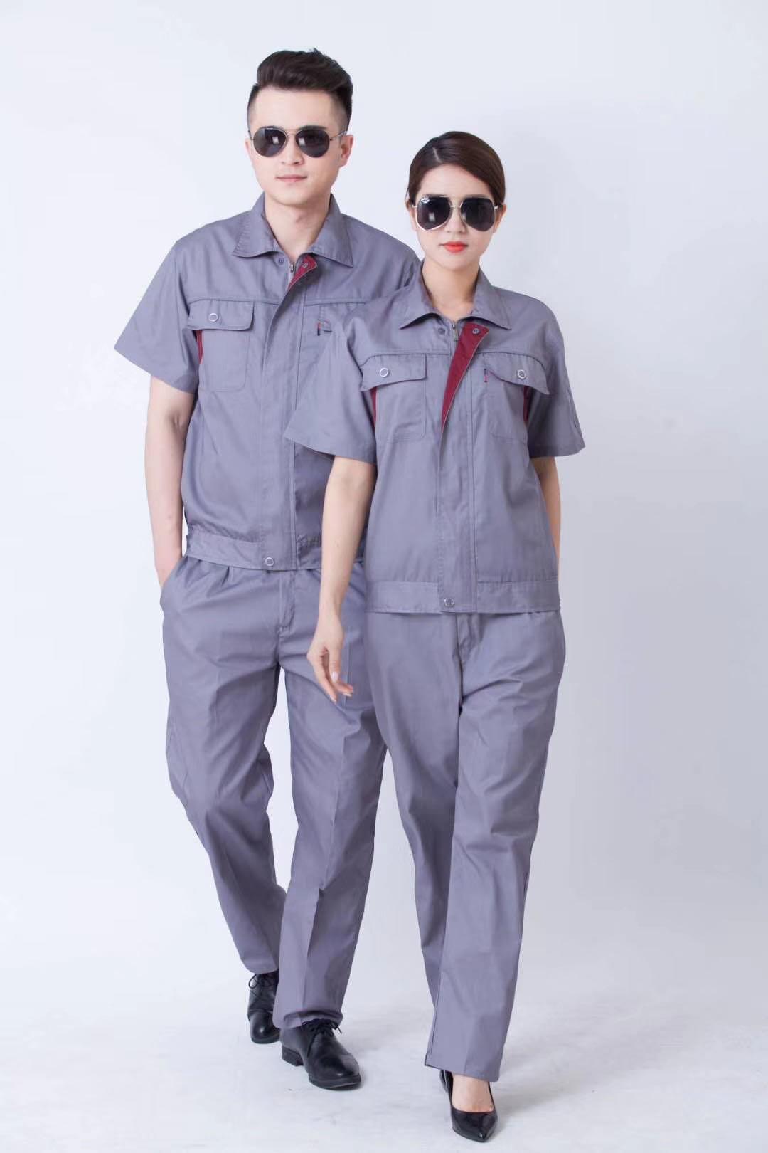 灰色短袖工作服