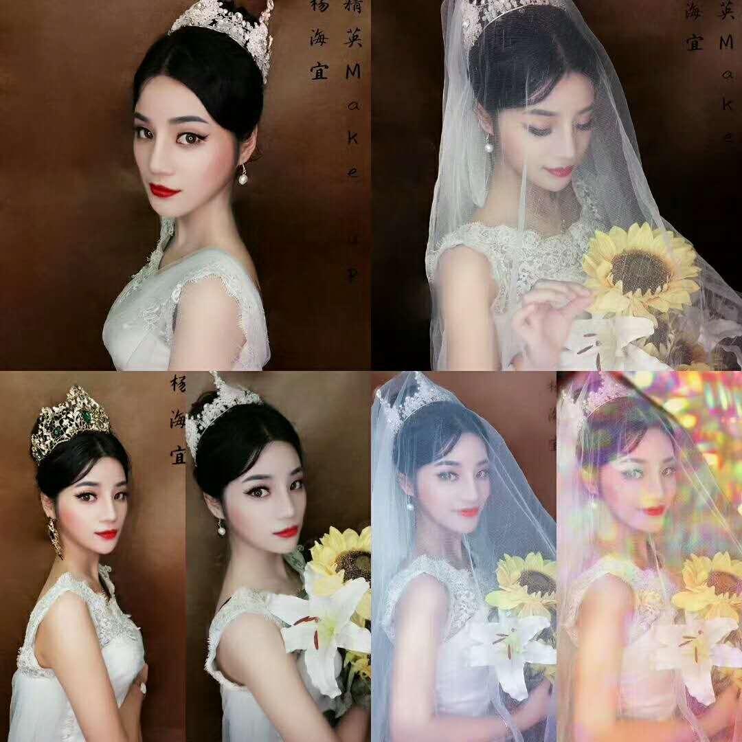 精英化妝培訓學校化妝培訓班學員作品:高貴新娘造型新娘化妝妝