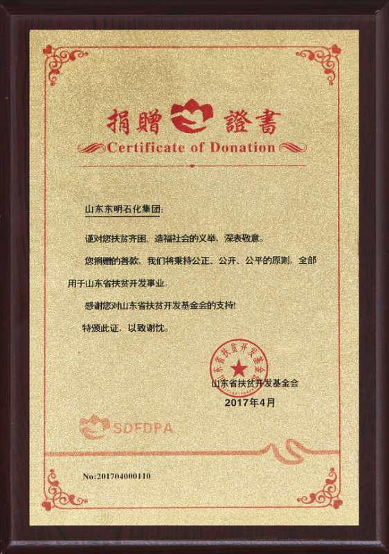 山東省扶貧開發基金會捐贈證書