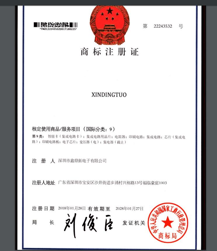 榮譽證書-商標證書