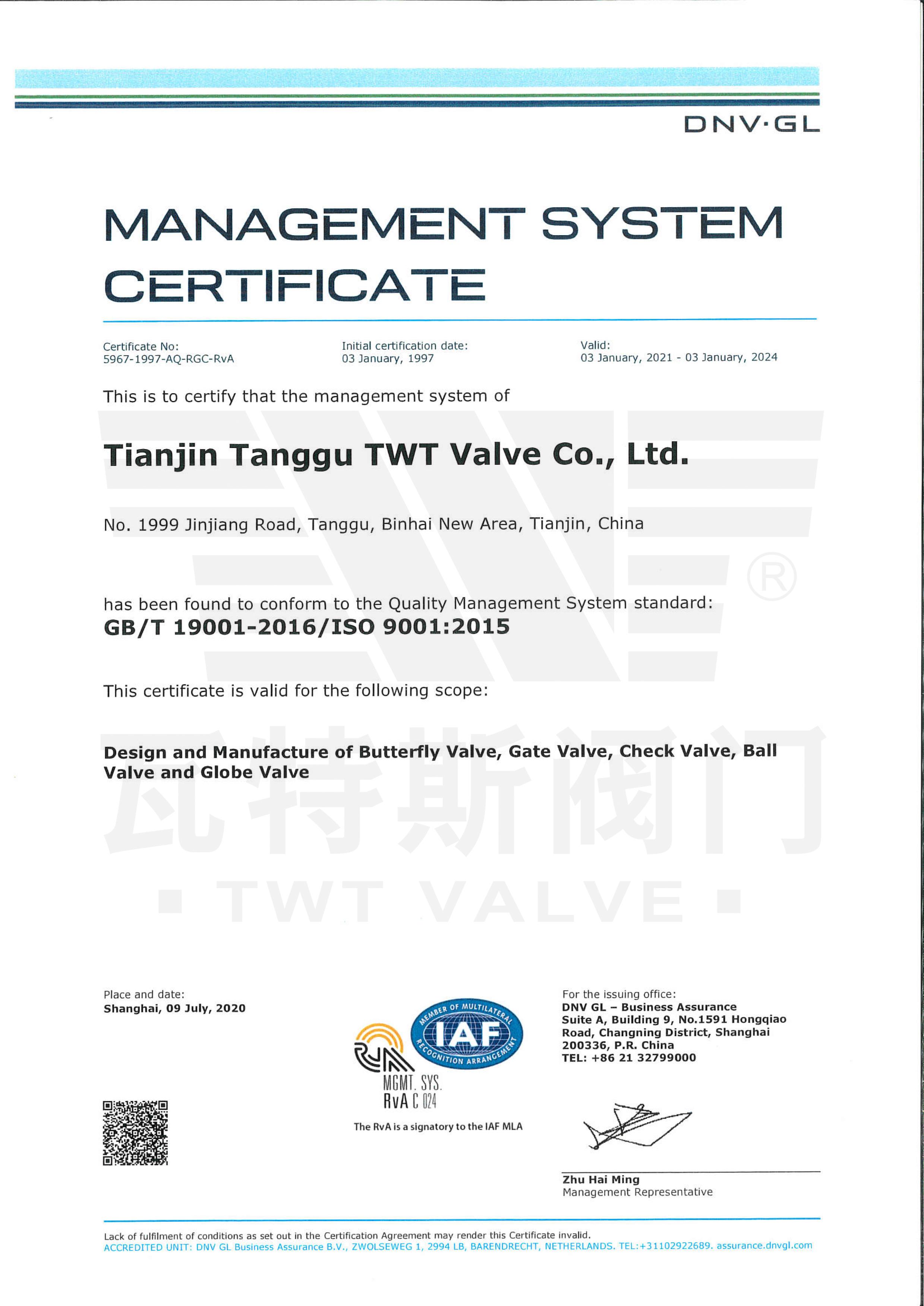 ISO-19001:2015质量体系认证英文