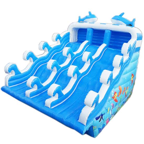 海豚滑梯充气水池支架水池配套滑梯-1