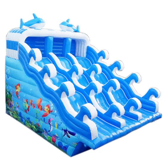海豚滑梯充气水池支架水池配套滑梯-2