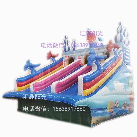 海浪滑梯充气鲨鱼滑梯-1