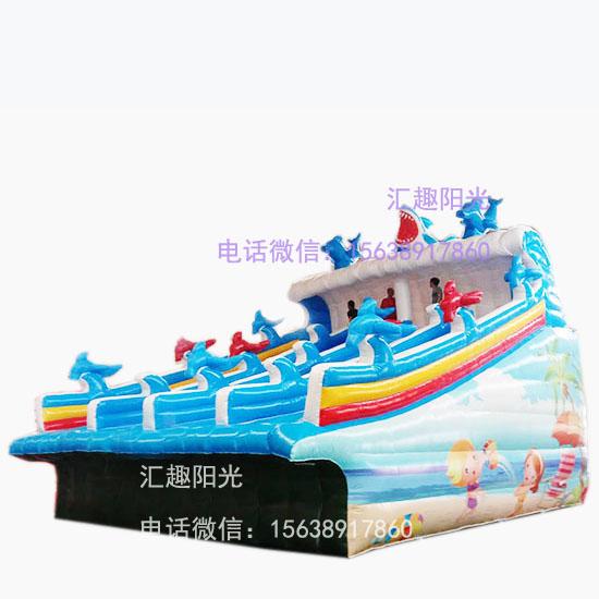 海浪滑梯充气鲨鱼滑梯-2