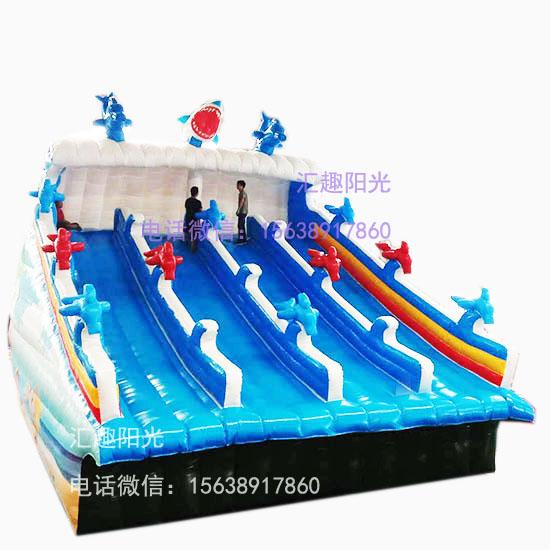 海浪滑梯充气鲨鱼滑梯-3
