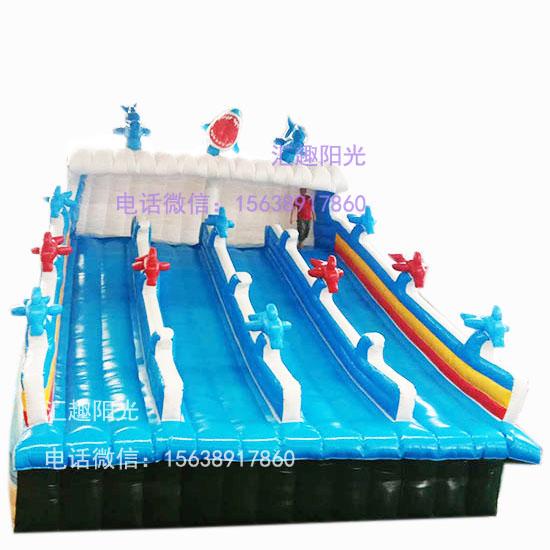 海浪滑梯充气鲨鱼滑梯-4