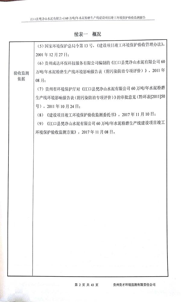 江口縣梵淨山水泥有限公司環境驗收監測報告_5