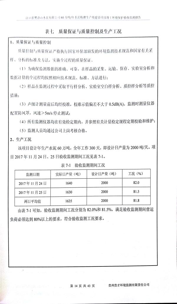江口縣梵淨山水泥有限公司環境驗收監測報告_17