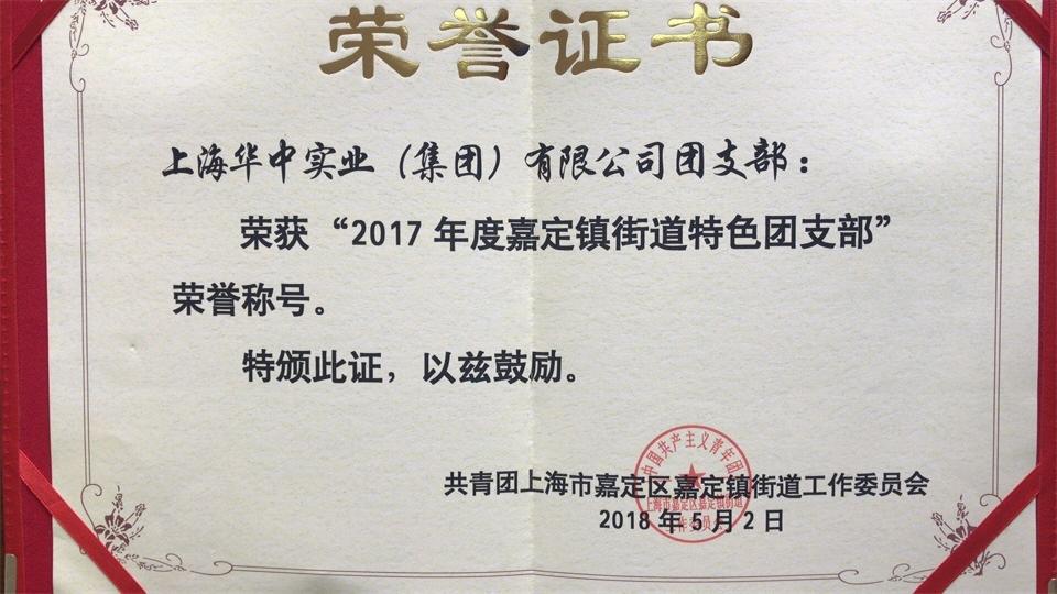 """2018年5月,新天地彩票登录网址获得""""2017年度嘉定镇街道特色团支部"""""""