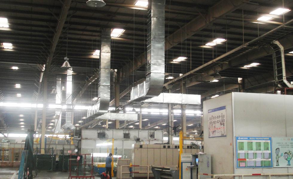 五金模具厂通风降温方案设计安装工程效果图