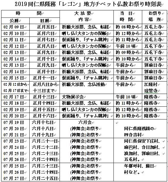 2019同仁県隆務「レゴン」地方チベット仏教お祭り時刻表
