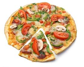 pizzaonwhiteblackground