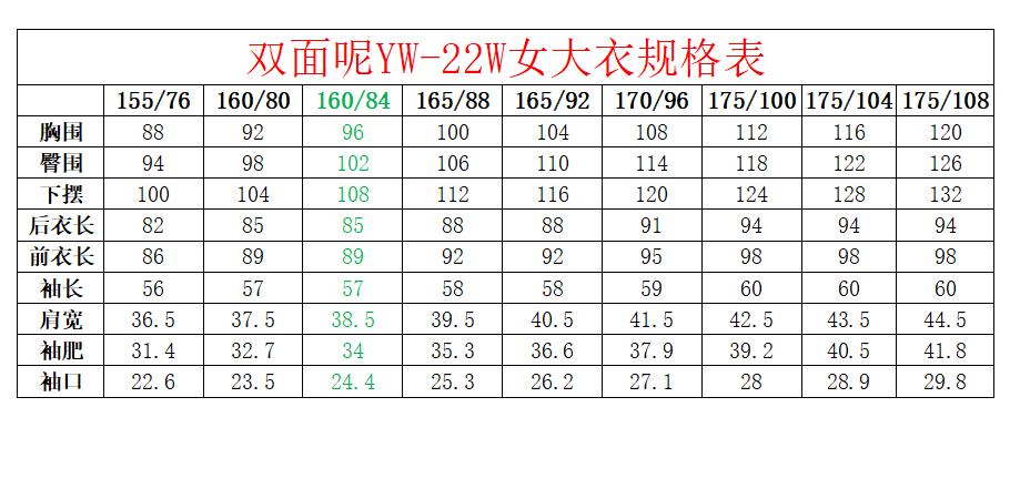双面尼YW-22W规格表