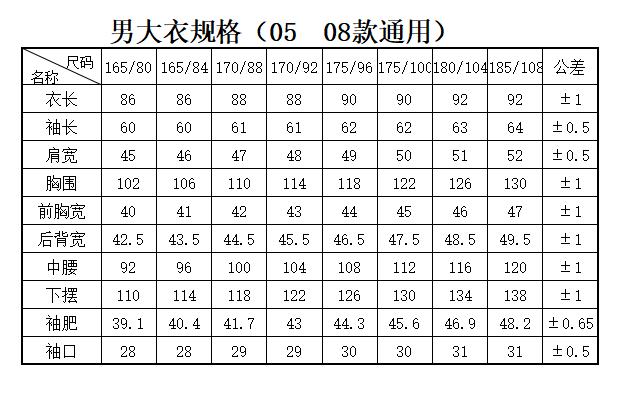 男大衣0508规格表