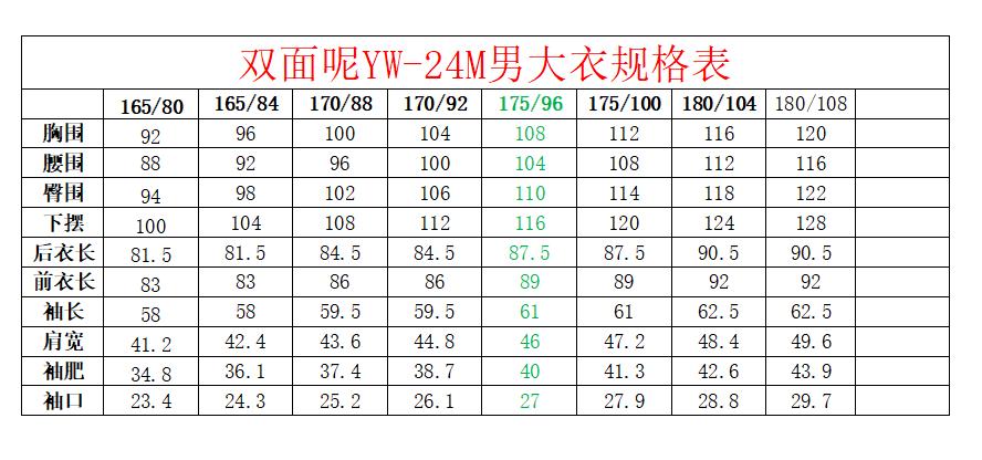 双面尼YW-24M规格表