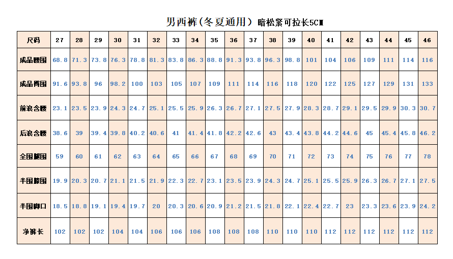 QHY男西裤规格表