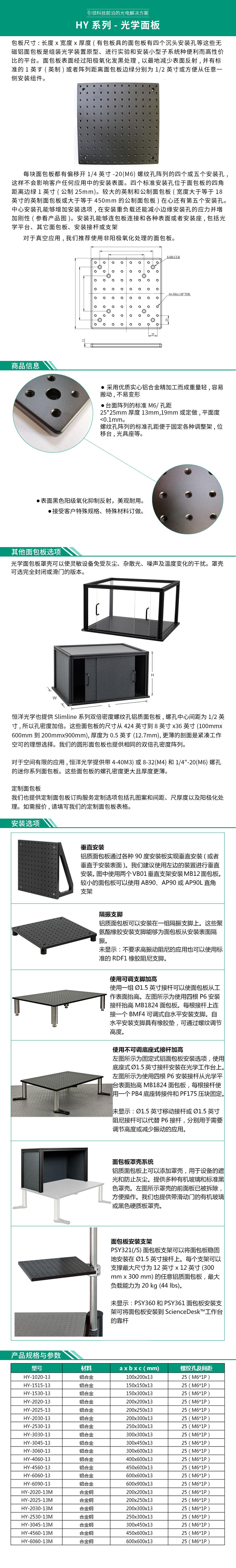 HY系列-光学面板
