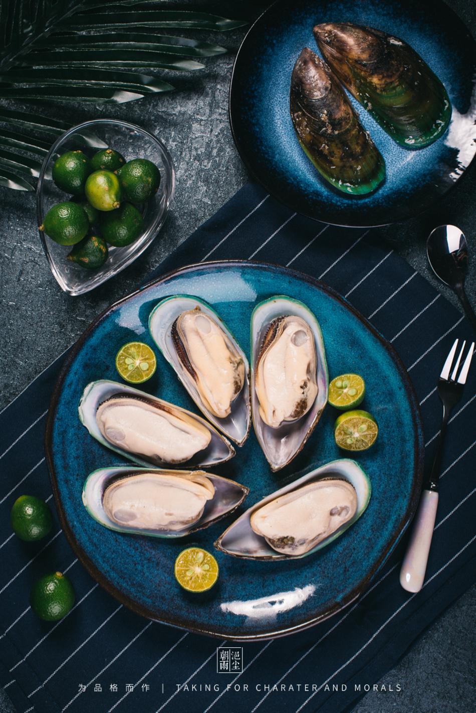 食品摄影-新西兰冷冻半壳青口贝1