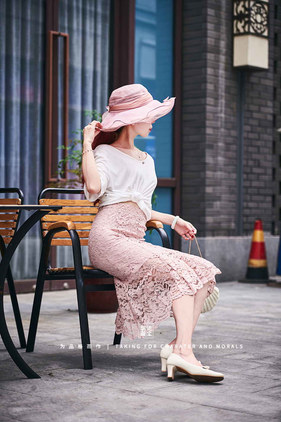 女装摄影-蕾丝粉色花裙套装02