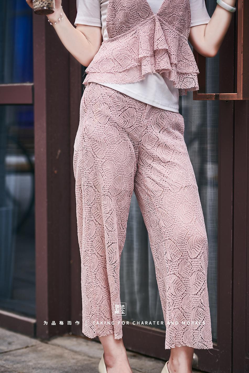 女装摄影-蕾丝粉色花裙套装07