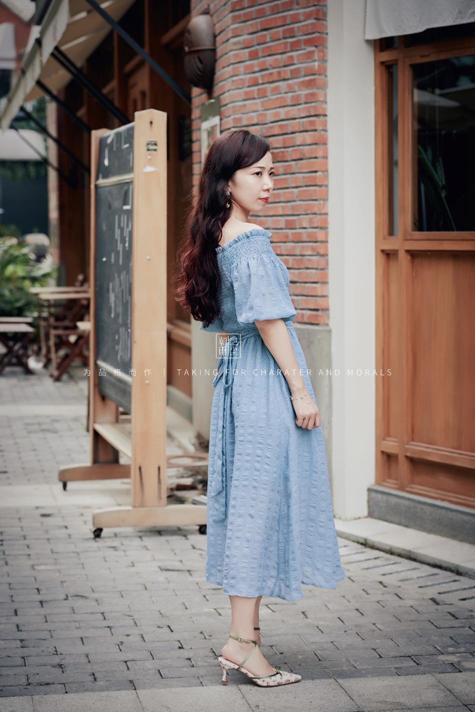 女装摄影-蓝色气质仙女长裙1