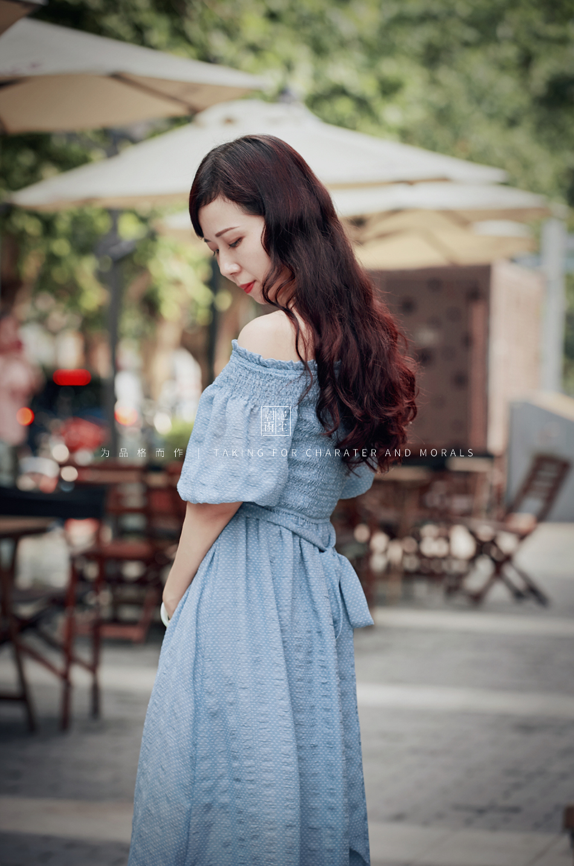 女装摄影-蓝色气质仙女长裙4